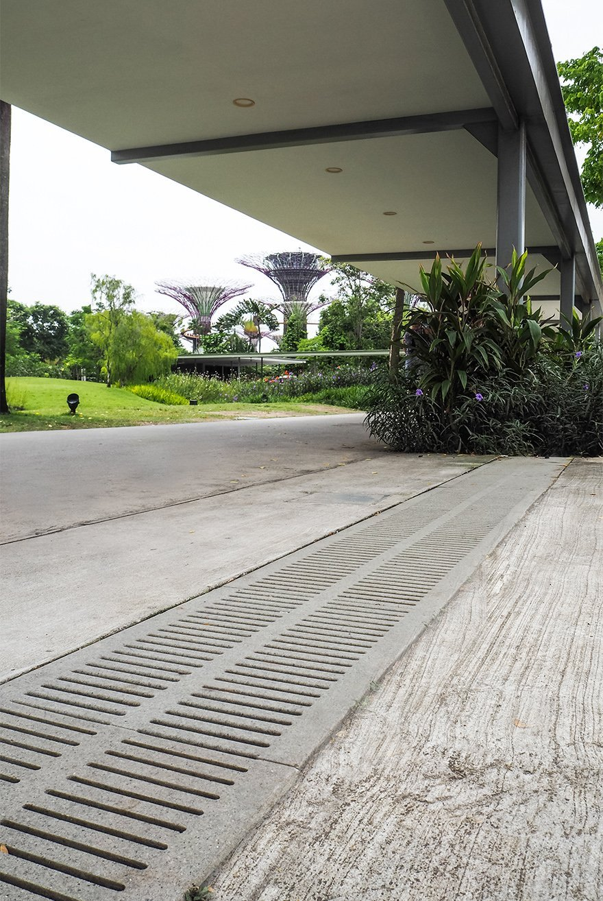 Jonite slotted collection reinforced stone trench grates in Gardens by the Bay