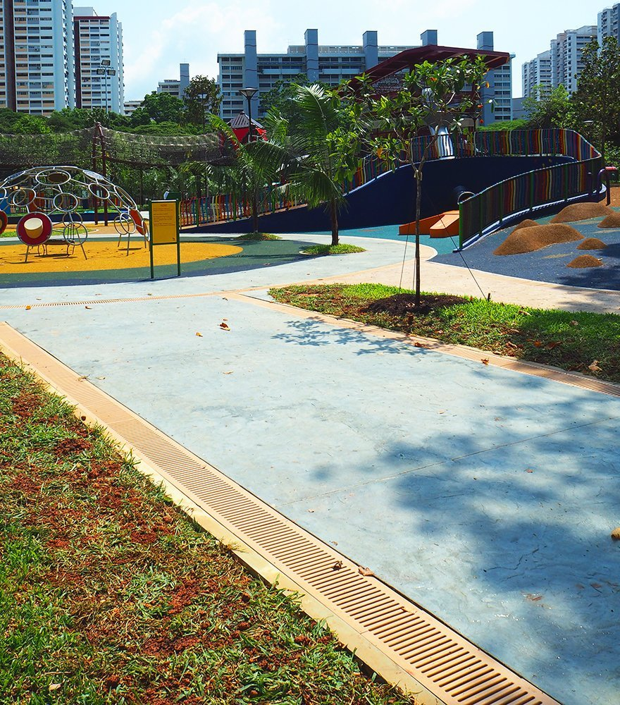 Reinforced stone Jonite channel grates in Marine Cove Singapore